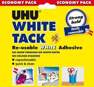 UHU WHITE TACK ECONOMY 100g - RE-USABLE WHITE ADHESIVE LIKE BLU TACK BLUE TACK